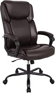 RIMIKING Office Chair - Executive Computer Task Desk Chair, PU Leather Reclining Adjustable Seat Height Swivel Ergonomic Design for Lumbar Support