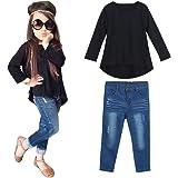 HOT!YANG-YI Fashion Toddler Baby Kids Girls Outfit Set Long Sleeve T-Shirt Tops+Jeans Pants