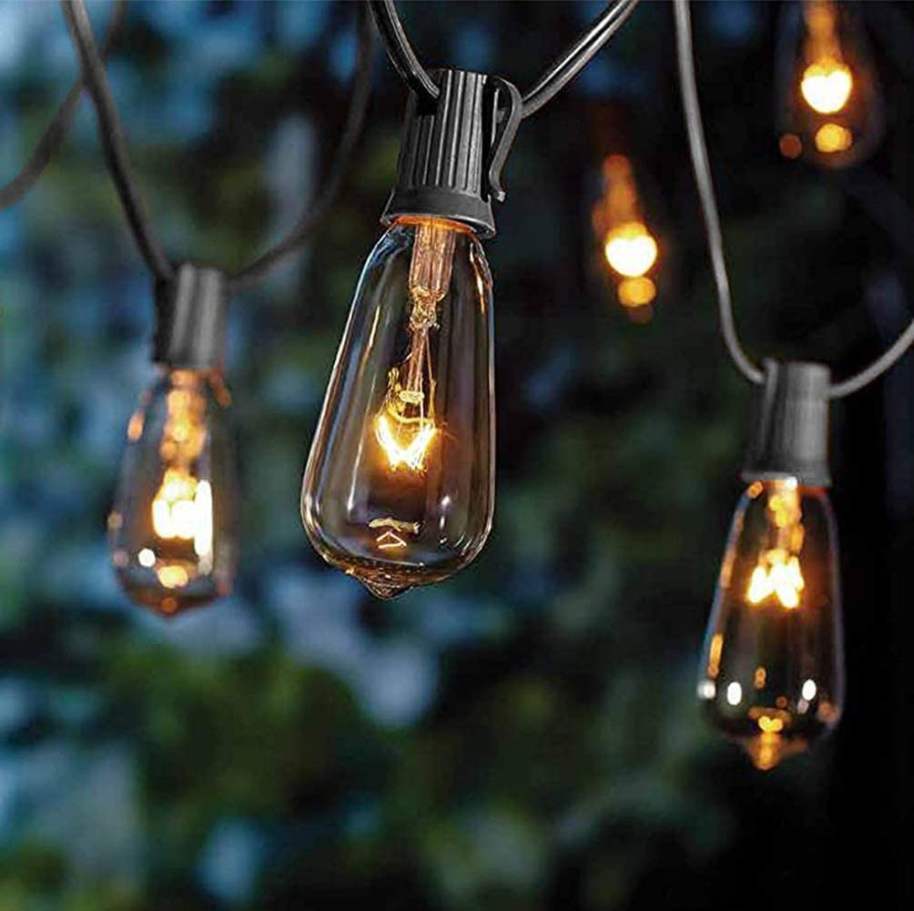 Goothy 20Ft Outdoor Patio String Lights,Set of 20 Glass ST40 Edison Style C9/E17 Base Bulb String Lights Garden/Backyard Party/Wedding Outdoor String Lights(Plus 2 Extra Bulbs)-Black