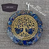 Orgonite Chakra Energy Web Tree of Life Orgone Pendant – Revitalization and Relaxation Chi-Lapis Lazuli, Carnelian Crystal Necklace- Brass and Copper Tesla Coil Embedded- Unisex (Lapis Lazuli)