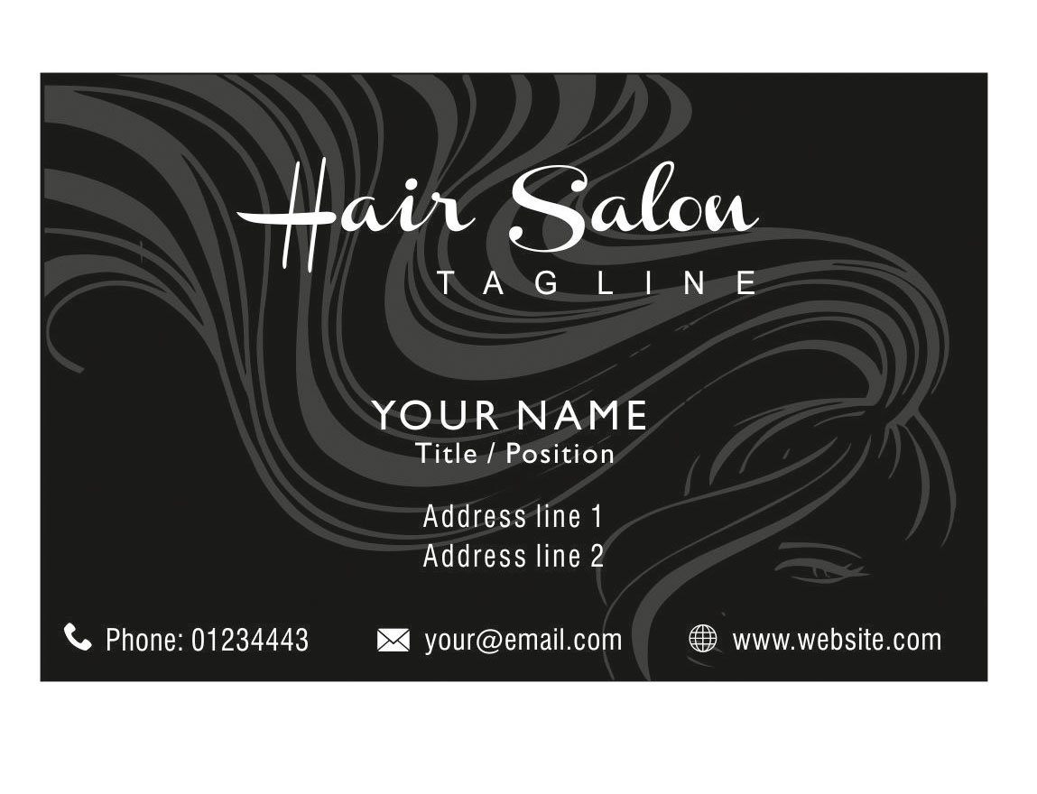 Hair Beauty Salon Personalised Business Cards Custom Professional Visiting Card Black- Front