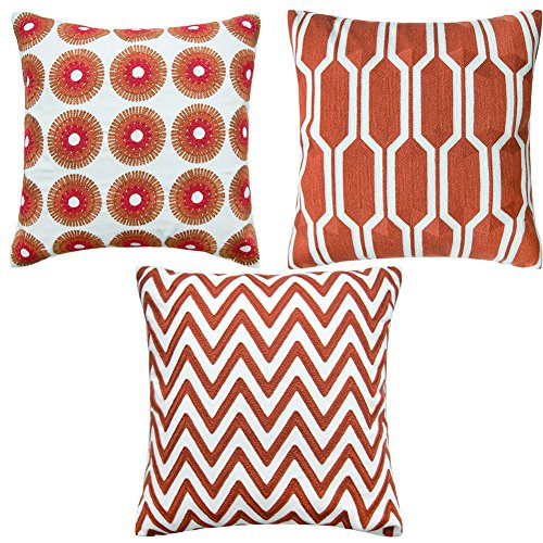 Shinnwa 3 Pcs Cotton Linen EMBROIDERY Accent Decorative Throw Pillow Covers Cushion Covers Assorted Colors for Couch 18