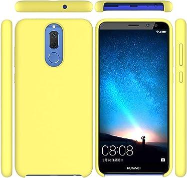 Funda para Huawei Mate 10 Lite, Líquido de Silicona Carcasa Huawei Mate 10 Lite, Anti-Huella Digital con Suave Almohadilla de Forro de Tela de Microfibra, Funda Liquida Silicona Amarillo: Amazon.es: Electrónica