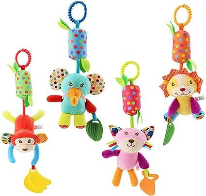 Juguetes Para Bebés Para Bebés Juguetes De Cuna Recién Nacidos Juguetes Para Silla De Coche Juguetes Para Bebé Colorido Animal Bell Suave Sonajeros Sensoriales Con Mordedor Para Bebés Niños Y Niñas