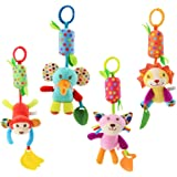 Baby Hanging Rattles Toys, Newborn Crib Toys Car Seat Stroller Toys for Infant, Colorful Animal Bell Soft Baby Sensory…