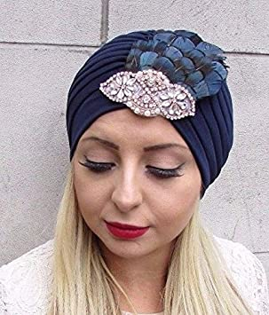 Starcrossed Boutique Navy Blue Rose Gold Pearl Feather Turban Headpiece  Fascinator 1920s Flapper 3585  Amazon.co.uk  Beauty c8b7898ef46