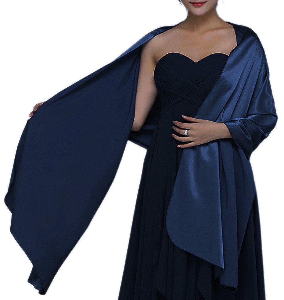 Alivila.Y Fashion Womens Satin Soft Long Wrap Scarf Shawl-Navy Blue Satin