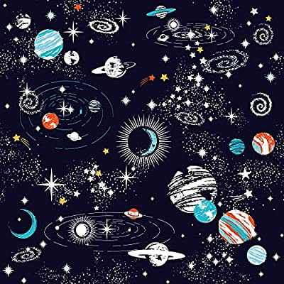 SHOMPE Galaxy Space Bedding Sets Kids Queen Size,Navy Blue Universe Adventure Stars Duvet Cover Sets with 2 Pillowcases for Boys Girls Teens Bedroom,NO Comforter: Home & Kitchen