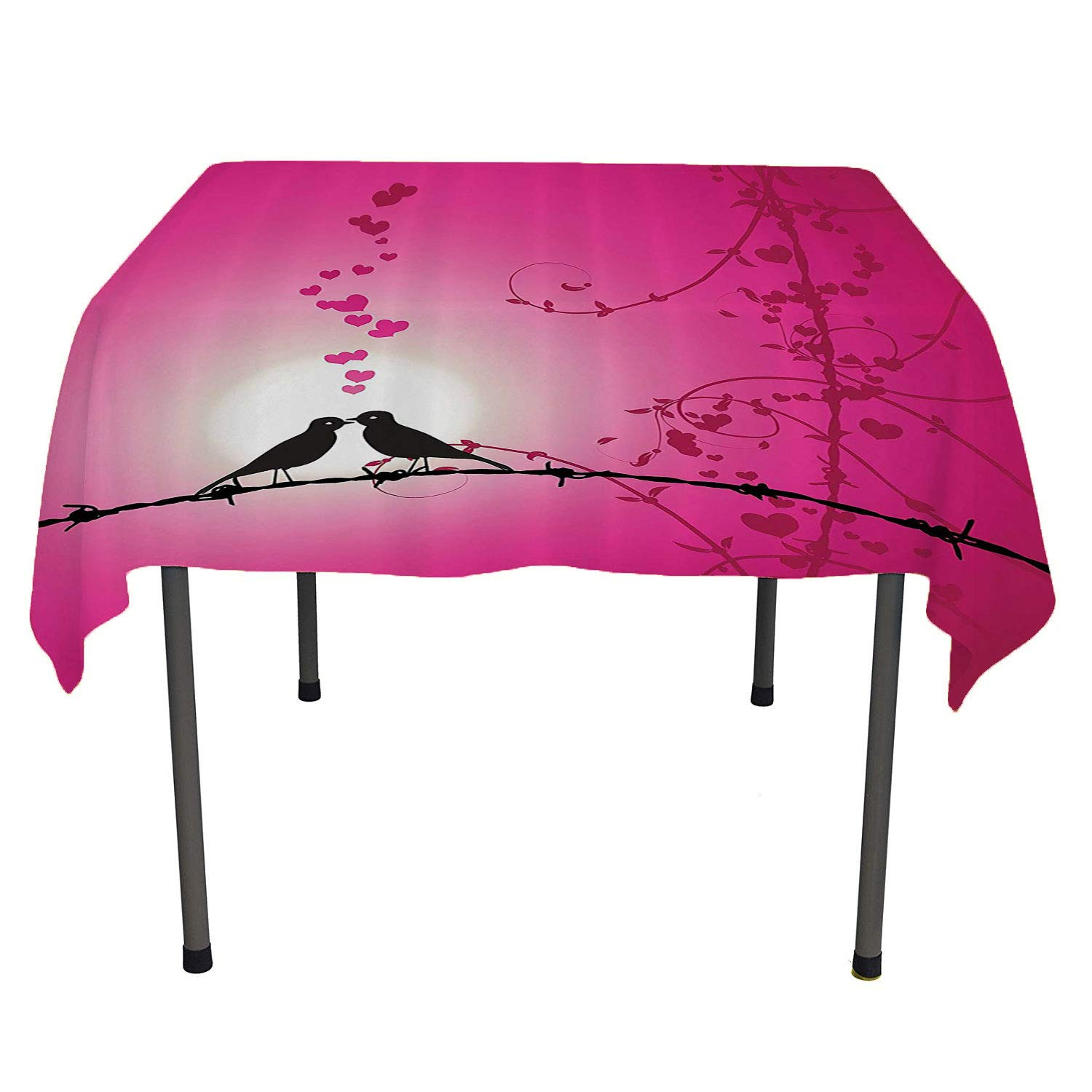 color12 60  W By 90  L Bamboo House Decor Collection BBQ Tablecloth Lined Up Bamboo Stems and Flower Silhouettes Shadow Eastern Tropical Exotic Image Red Cream Stain resistanttablecloth Spring Summer Party Picnic 60 by 84