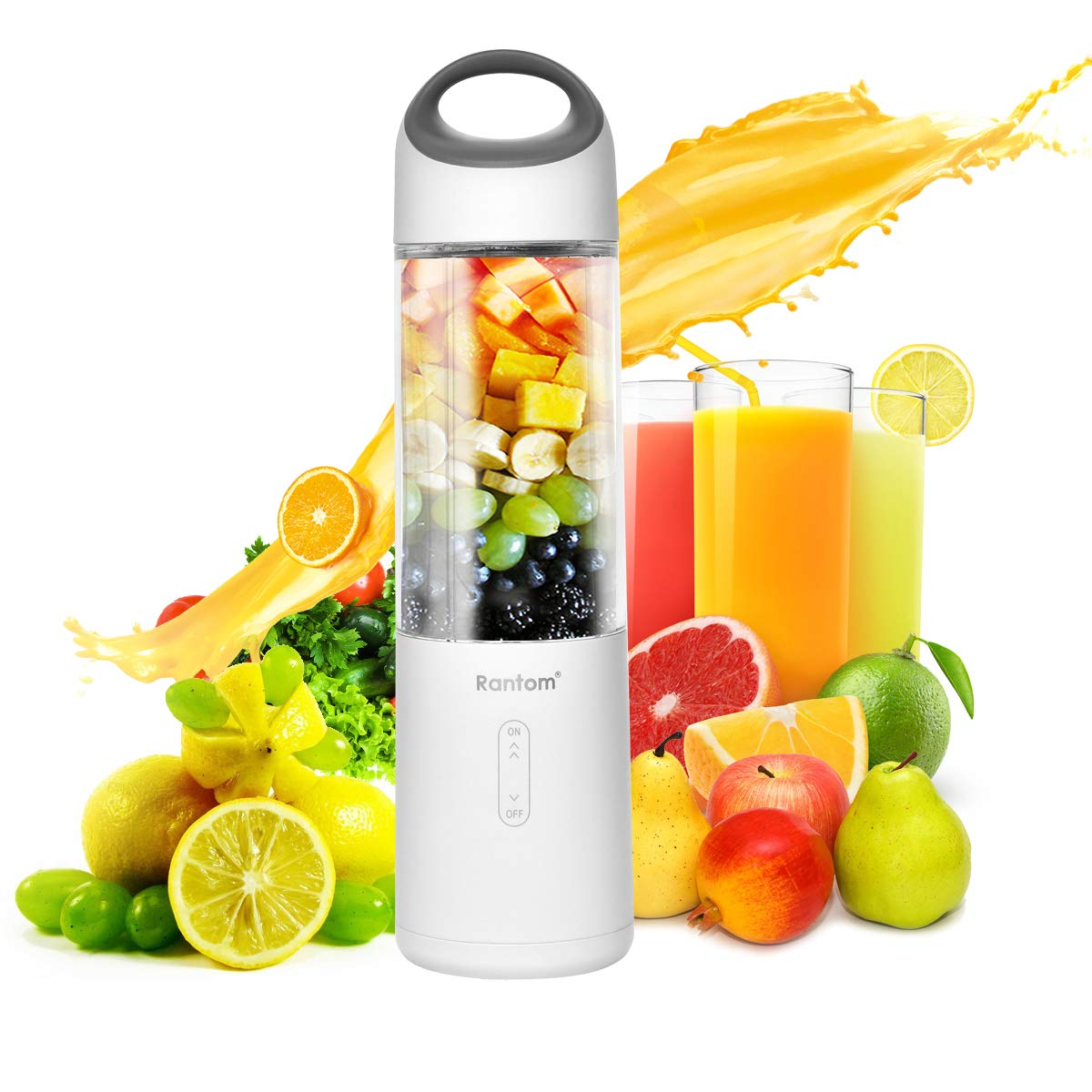 Personal Blender,Rantom smart Blender for Smoothies With USB Durable Battery&6pcs powerful motor blades for Babies Food/Exerciser/Office ladies&Single Serving(ROHS,FDA&BPA free)