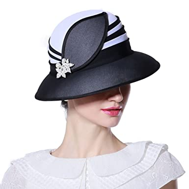 June s Young Girl Hats Lady Hats for Church Women Fashion Show White black  Leaf Shape 0c23537bacc