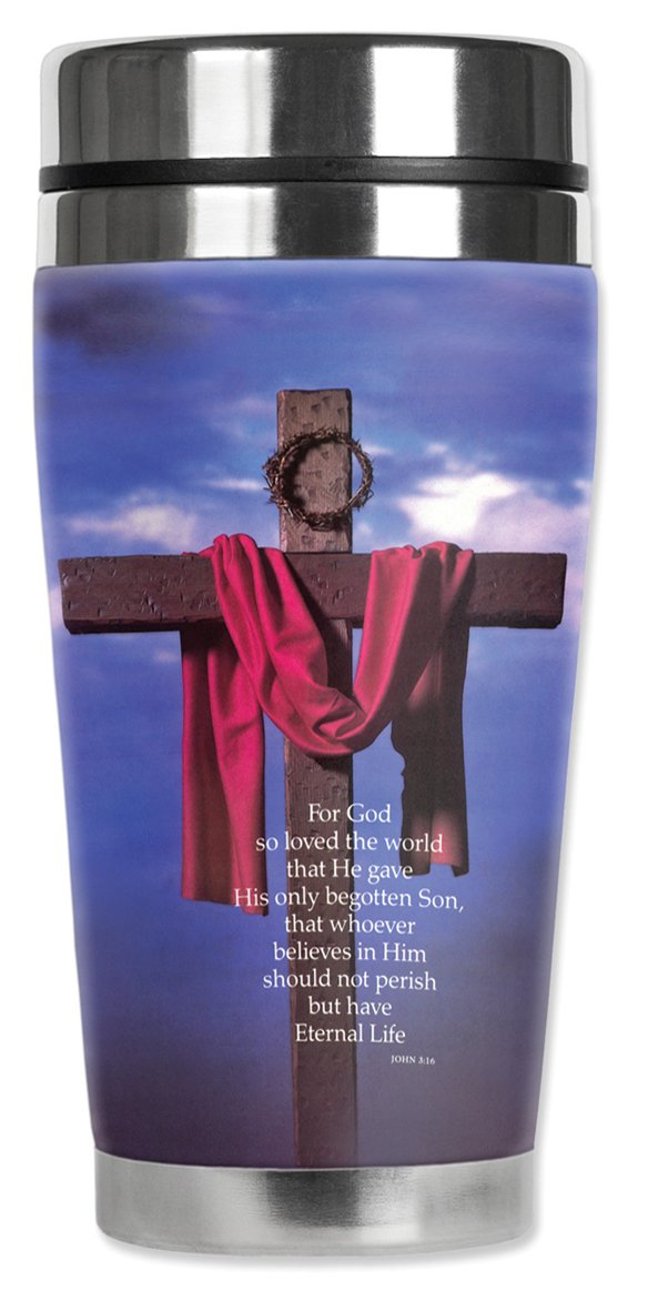 Mugzie MAX 20-Ounce Stainless Steel Travel Mug with Insulated Wetsuit Cover For God So Loved