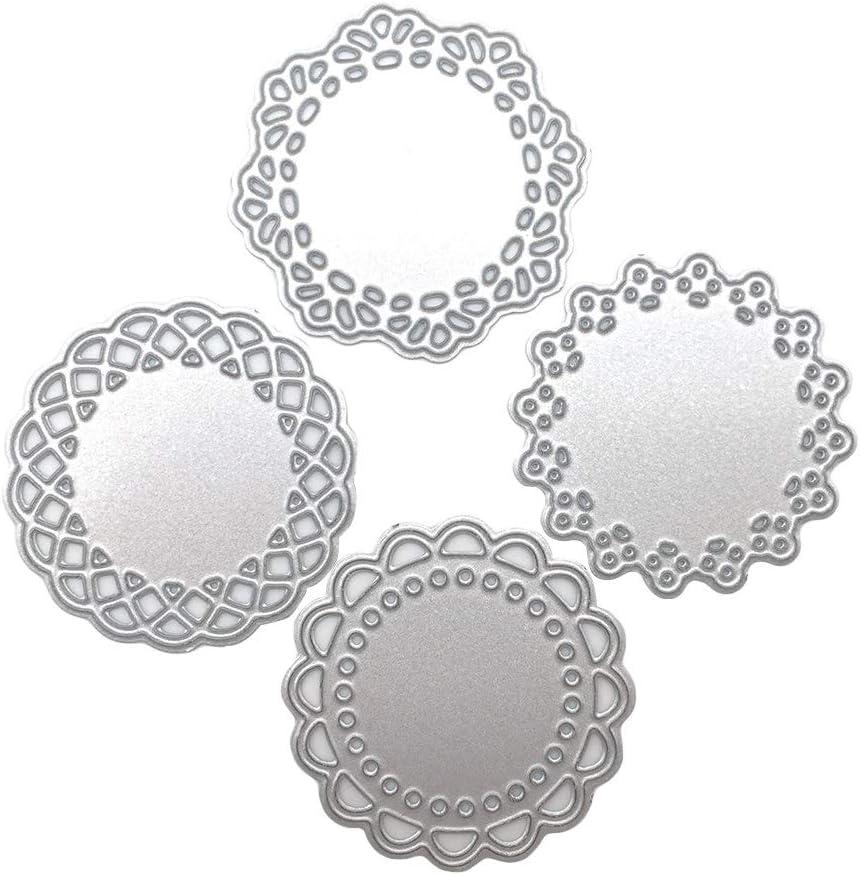 4Pcs Mini Lace Doily Circle Metal Cutting Dies Scrapbooking Craft Dies Making Paper Art Diy Embossing