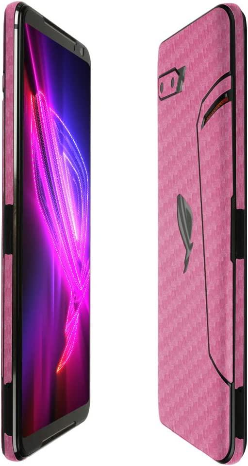 Skinomi Pink Carbon Fiber Full Body Skin Compatible with Asus Zenfone V Live TechSkin with Anti-Bubble Clear Film Screen Protector Full Coverage