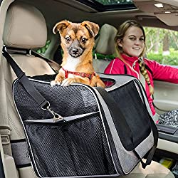 FURRY BUDDY Pet Booster Seat with Dog Seat Belt and Removable Plush Liner, Pet Carrier, Holds Small and Medium Dogs up to 20 lbs