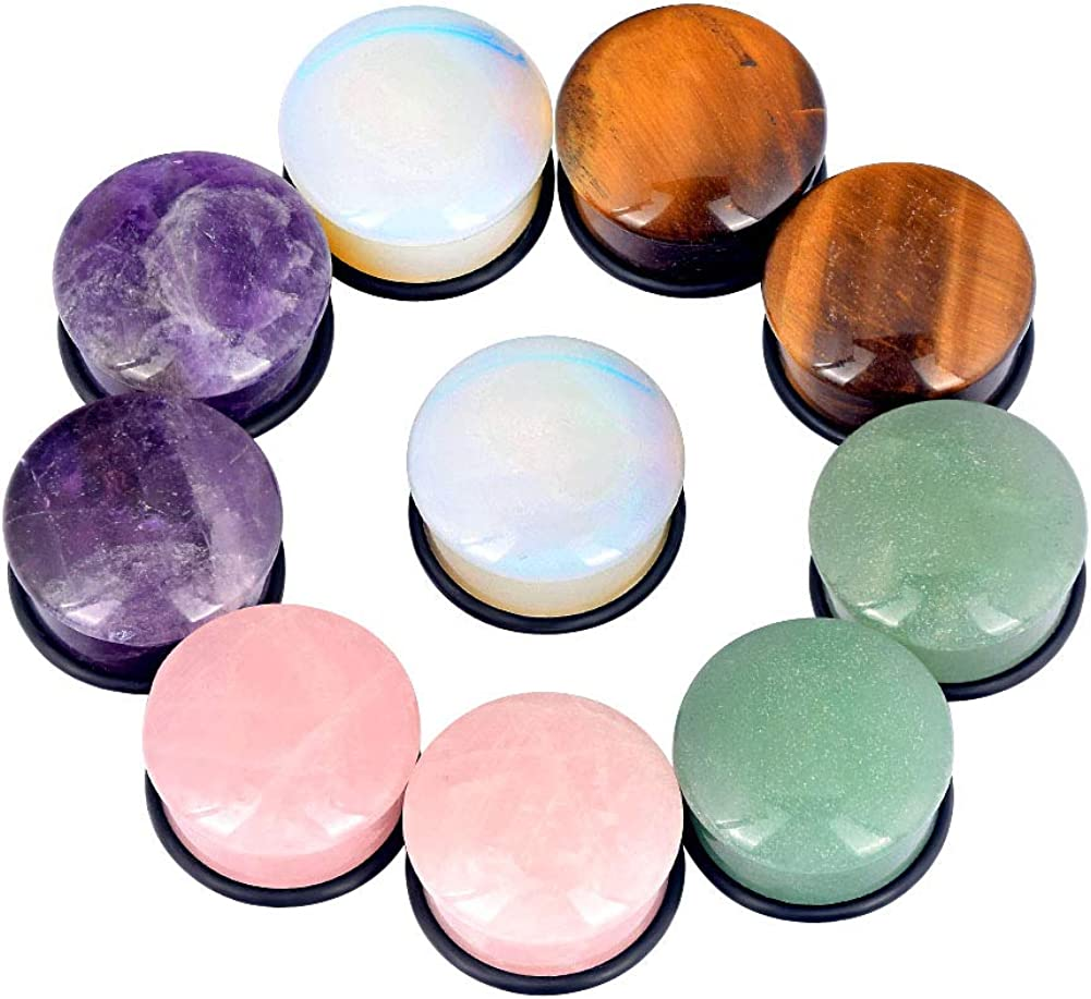 Longbeauty 10Pcs Mixed Stone Ear Gauges Plugs with O-Ring Single Flared Tunnels Expander Stretcher Piercing