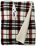 Biddeford 4493-9062183-744 Electric Heated Velour with Sherpa Throw, 50-Inch by 62-Inch, Linen Plaid