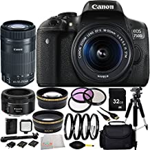 Canon EOS Rebel T6i/750D Digital SLR with EF-S 18-55mm IS STM Lens + Canon EF-S 55-250mm F4-5.6 IS STM Lens + Canon EF 50mm f/1.8 STM Lens 32GB Bundle 15PC Accessory Kit. Includes 32GB Memory Card + 0.43 Wide Angle Lens + 2.2 Telephoto Lens + MORE