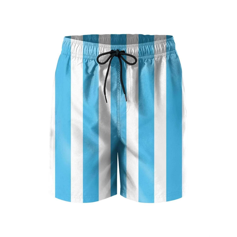LHSKH Blue and White Striped Mens Swim Trunks Elastic Waist Boardshorts for Men Print Mens Swim Shorts