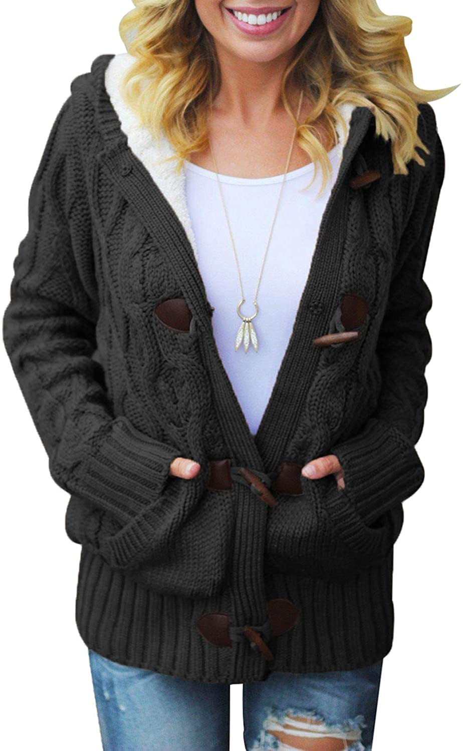 Aleumdr Womens Hooded Cardigans Casual Long Sleeve Button Up