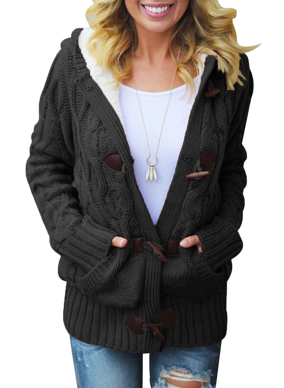 Elapsy Cardigan da Donna Lavorato a Maglia con Bottoni e Tasche in Pelliccia Sintetica