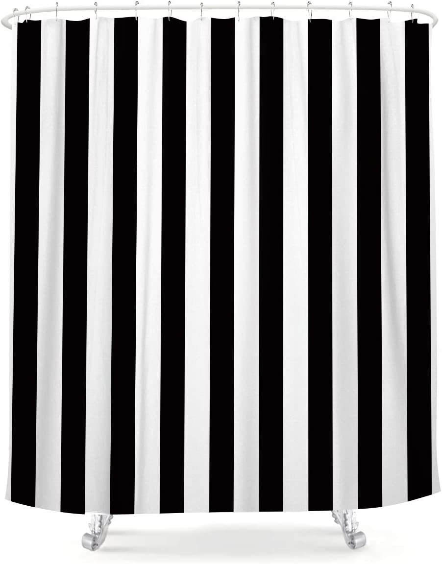 LIGHTINHOME Black and White Shower Curtain Nautical Striped Design 60Wx72L Modern Simple Classic Art Fabric Waterproof Bathroom Home Decor Set 12 Pack Plastic Hooks