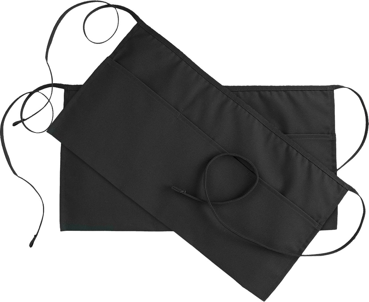 3 Pockets Waist Apron (SET of 2, Black, 24x12 inches) - Durable, Comfortable, Easy Care, Restaurant Half Aprons - by Utopia Wear Utopia Kitchen UTAPRON3POCKET12