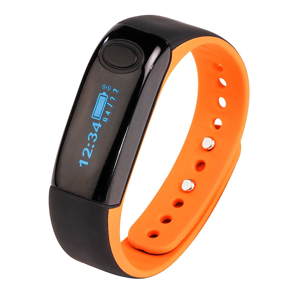 AIMOX Fitness Tracker Activity Tracker Smart Band with Sleep Monitor, Smart Bracelet Pedometer Wristband with Replacement Band for iOS & Android (Orange)