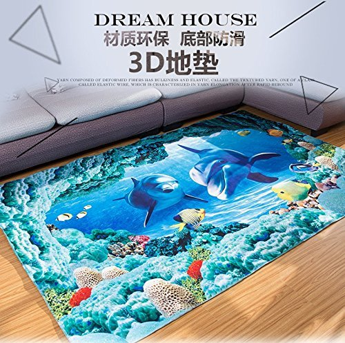 Blue Sea Theme Dolphin 3D Ocean Dolphin Fishes Pattern Blue Bathroom Floor Carpet - Flannel carpet Water and Skid Resistant Kids Home Decoration ()