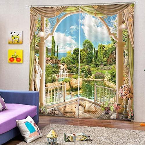 QinKingstore Windowside Lakeside 4カーテン170 * 200ホームファッションミックス&マッチチュールシアーレース&ブラックアウトカーテンセット