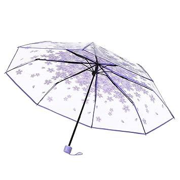 Paraguas, hunpta transparente paraguas Cherry Blossom seta Apollo Sakura 3 Fold paraguas, morado