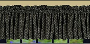Home Collection by Raghu Kingston Jacquard Valance, 72 by 15.5-Inch, Nutmeg/Black