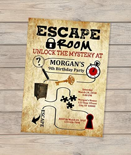 Escape room birthday invitation escape theme for Escape room party