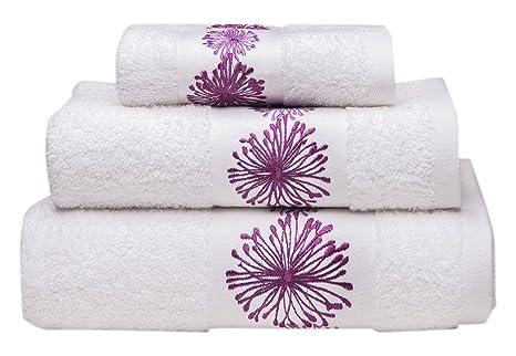 Sancarlos Juego de toallas bordadas Spring, Algodón, Blanco, 3 piezas