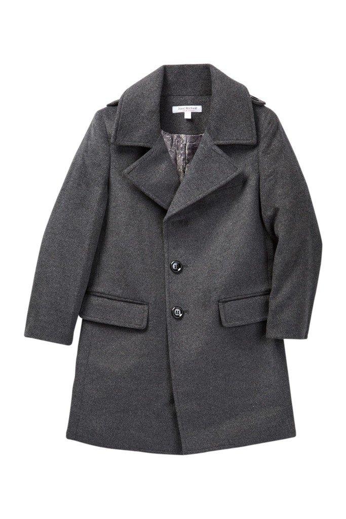 Isaac Mizrahi Boy's CT1013 Single Breasted Wool Overcoat - Charcoal - 2 by Isaac Mizrahi