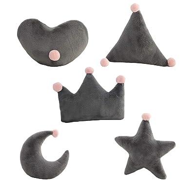 Almohada De Juguete Star Moon Crown Forma De Corazón Triángulo Almohada De Felpa Sofá Cojín Sala De Estar Dormitorio Decoración del Coche Juguetes Llenos Regalo De Cumpleaños (5 Piezas),Gris: Hogar