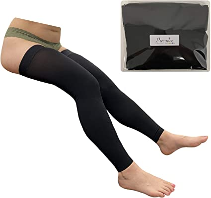 Black, S//M Presadee Thigh Sleeve 20-30mmHg Firm Compression Calf Leg Knee Swelling Stocking
