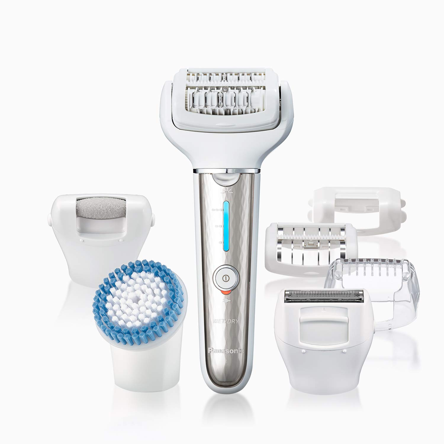 Panasonic Epilator for Women - Premium Cordless Wet/Dry Epilator & Shaver with 7 Attachments achieves Gentle Hair Removal & Full Body Spa Care at Home - ES-EL9A-S (Silver)