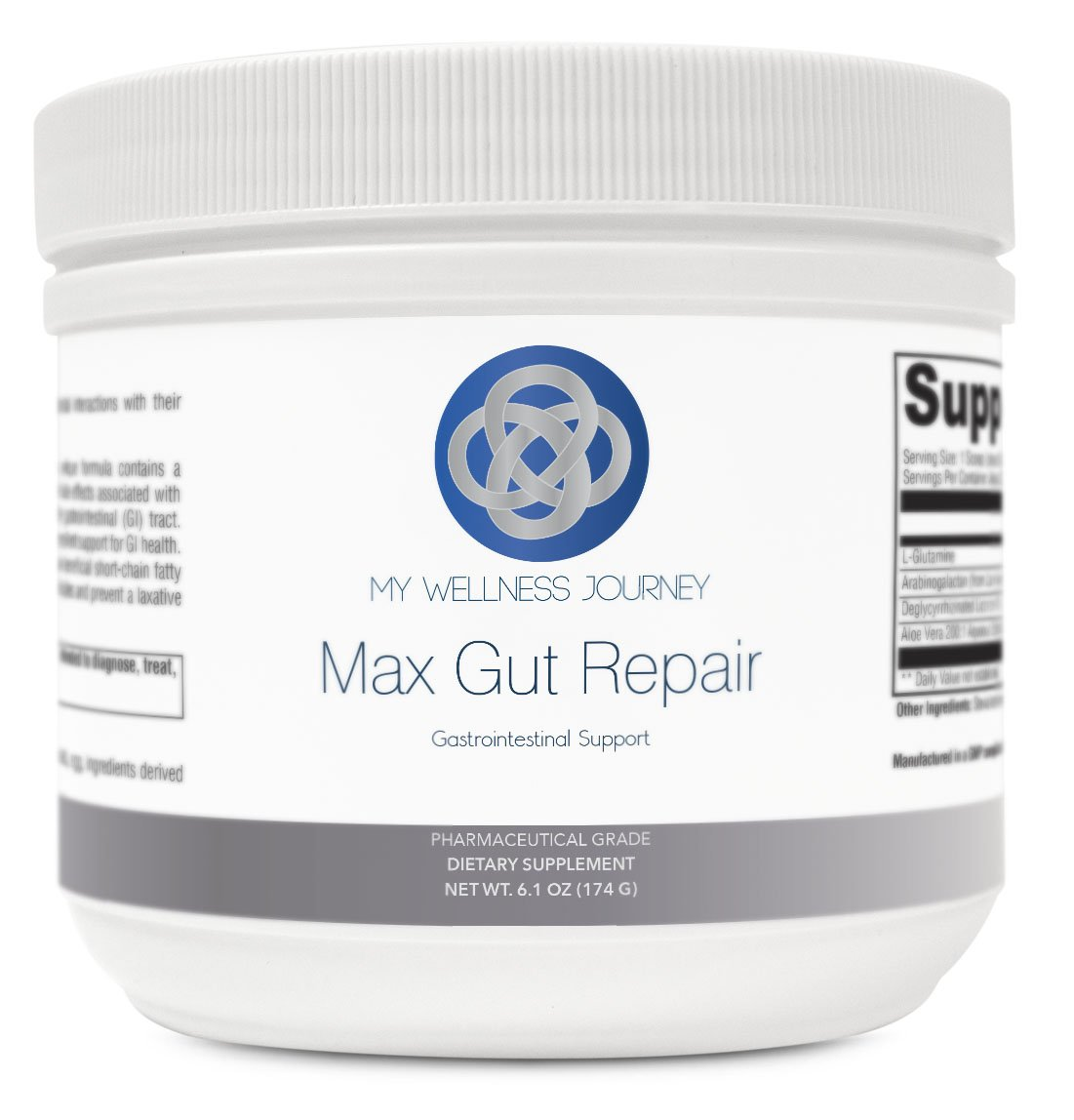 L-Glutamine with Aloe- Max Gut Repair- Support for Mucosal Lining, Leaky Gut and GI Health- Promotes Healthy Gut Microflora- Pharmaceutical Grade- 30 servings 6.1 oz (174 g) by My Wellness Journey LLC