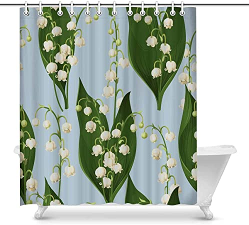 Shower Curtain Teal Leaf Patterns Elegant Design White 84 Inches Extra Long