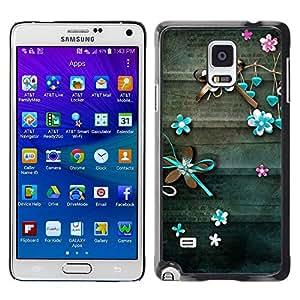 TopCaseStore / la caja del caucho duro de la cubierta de protección de la piel - Teal Lines Floral Rustic Wood - Samsung Galaxy Note 4 SM-N910