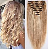 Double Weft Remy Human Hair Clip in Real Hair Extensions Full Head 8pcs Highlighted - 10 inch 110g #18/613 Ash Blonde with Bleach Blonde Thick Straight