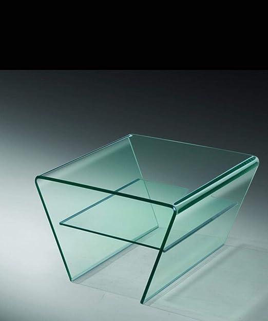Quidin - Mesa de Centro de Cristal Transparente con Patas dobladas ...