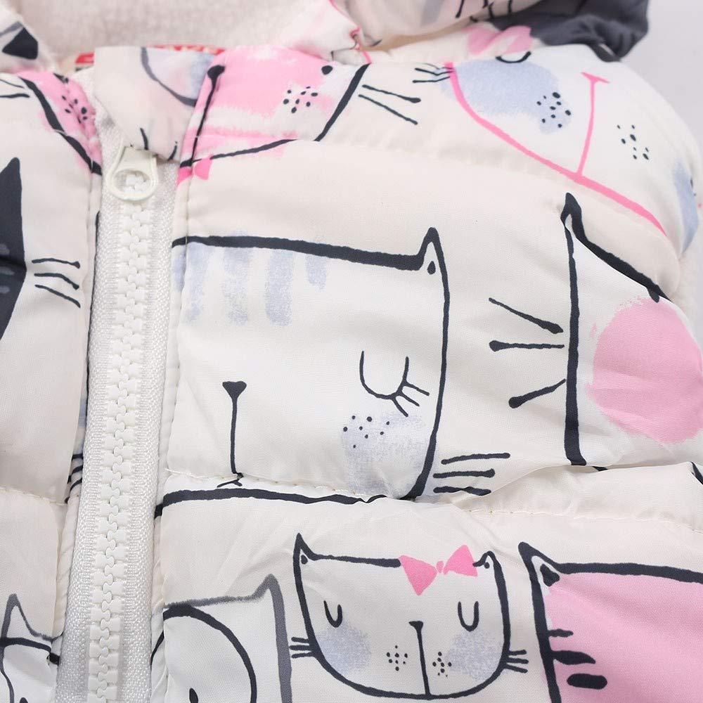 FEITONG Toddler Kids Girls Boys Sleeveless Cat Printed Hooded Zipper Warm Waistcoat Jacket