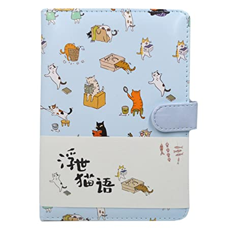 Cute Cartoon Cat Pattern Planner Schedule Book Notebook Leather Cover Journal Diary Notepad Blue