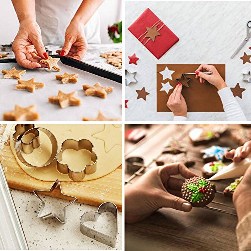 Dessert Plating Design and Molding Cake Decoration Baking Ertek Cookie Cutters Set 24 Pieces Small Geometric Assorted Size Stainless Steel Plain Edge Cutters for Kitchen