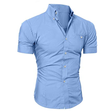 Camiseta Hombres, ❤ Manadlian Camisa casual para hombres Slim Fit manga corta Moda Negocio