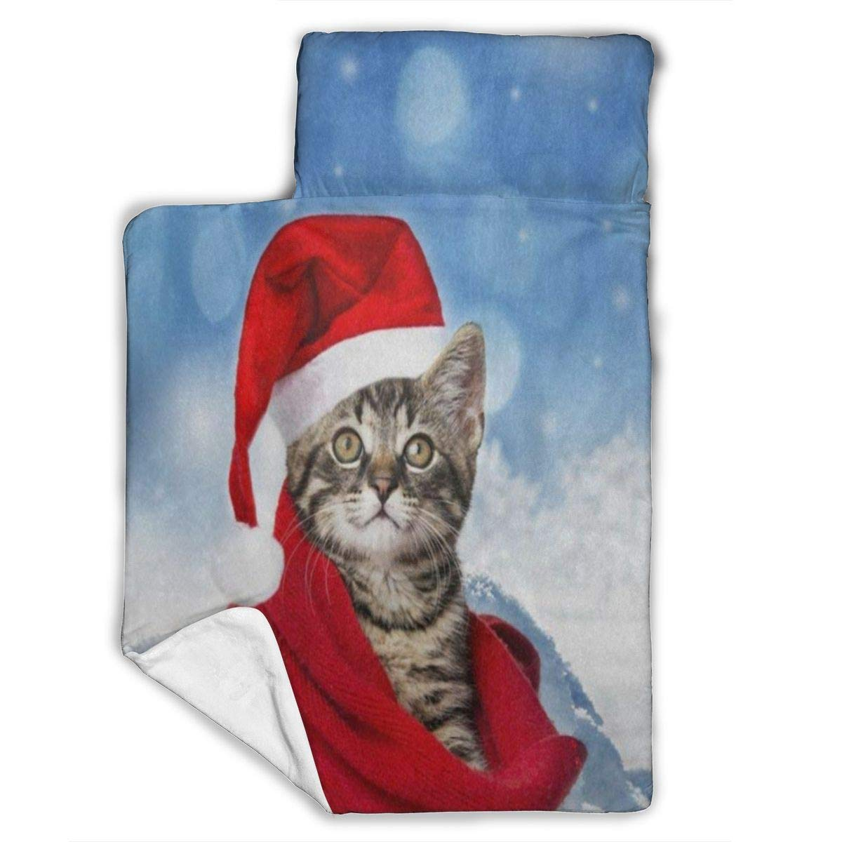 """Kids Sleeping Bag Easy Carry Cute Cat with Red Santa Claus Cap Christmas Unique Soft Flannel Rolled Nap Mat with Pillow for Preschool Daycare Kindergarten Daycare 50""""x20"""""""