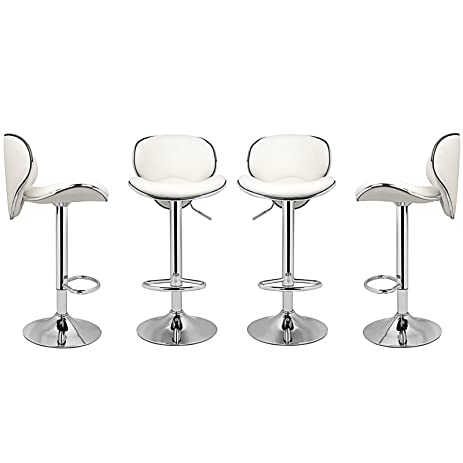 9485eaed7594 Magshion PU Leather Adjustable Swivel Dinning Counter Bar Stools Chrome  Curved Seat Chair Set of 4