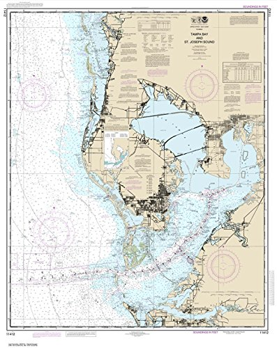 Paradise Cay Publications NOAA Chart 11412: Tampa Bay and St. Joseph Sound, 34.5 X 43.4, TRADITIONAL PAPER